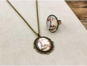 Üveglencsés Paris rózsás gyűrű és nyaklánc szett