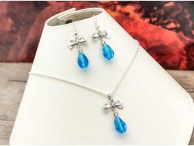 Kék színű kristályos masnis fülbevaló és nyaklánc szett