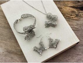 Ezüst drótból horgolt pillangó szett