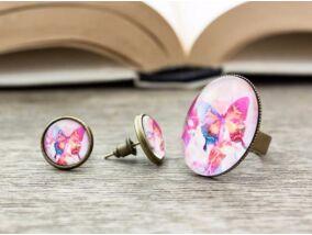 Üveglencsés pillangó gyűrű és fülbevaló szett