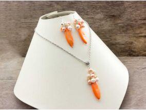 Narancssárga kagylóhéj nyaklánc és fülbevaló szett