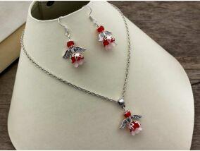 Piros és fehér angyalka nyaklánc és fülbevaló szett