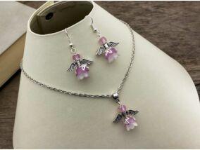 Halvány lila angyalka nyaklánc és fülbevaló szett