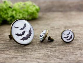 Üveglencsés Halloween denevéres gyűrű és fülbevaló szett