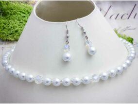 Esküvői fűzött gyöngy nyaklánc és fülbevaló szett