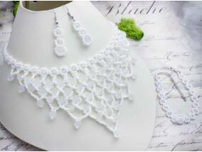 Esküvői fűzött gyöngy nyaklánc karkötő és fülbevaló szett