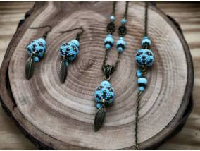 Kék arany indián gömbös gyöngy nyaklánc karkötő és fülbevaló szett