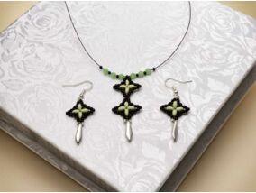 Zöld fekete csillag kristály nyaklánc és fülbevaló szett