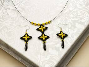 Sárga fekete csillag kristály nyaklánc és fülbevaló szett