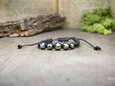 Fekete makramé karkötő dalmata jáspis gyöngyökkel
