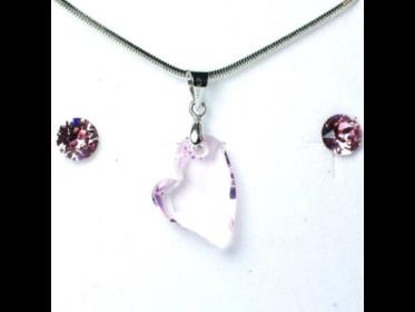 Aura rózsaszín Swarovski kristályos ékszerszett - Ferde szív 17 mm, Roseline + díszdoboz