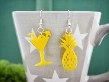 Ananász koktél plexi fülbevaló