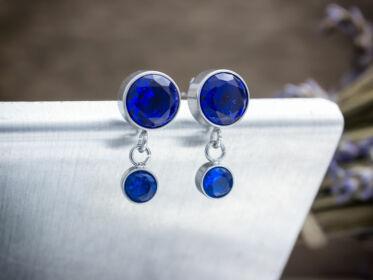 Lotus kék kristályos beszúrós acél fülbevaló