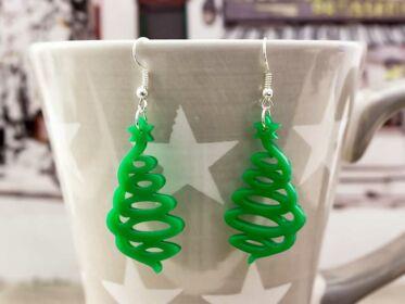 Karácsonyfa plexi fülbevaló