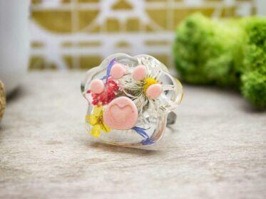 Műgyanta préselt virágos nyár acél gyűrű