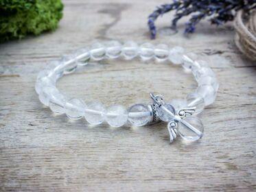 Hegyikristály ásvány karkötő angyallal