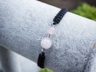 Szerelem angyala makramé rózsakvarc ásvány karkötő