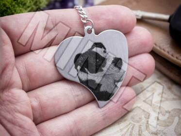 Fotógravírozás acél szív medálos kulcstartó