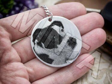Fotógravírozás acél kör medálos kulcstartó