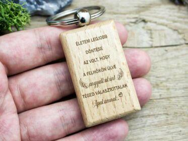 Téged választottalak Apukámnak fa medálos kulcstartó