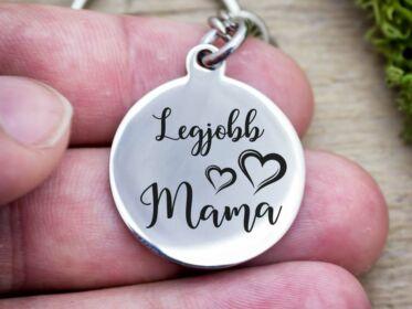 Legjobb Mama acél medálos kulcstartó
