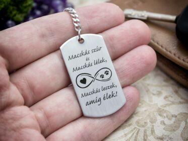 Macskás szív acél medálos kulcstartó