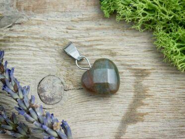 Indiai achát szív ásvány medál