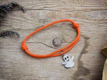 Halloween szellem medálos narancssárga paracord karkötő