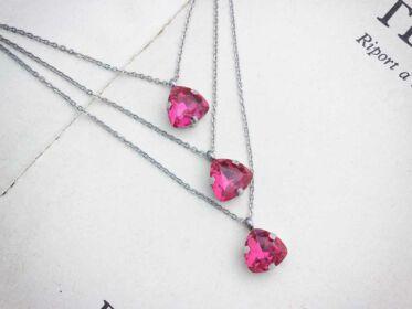Taffy rózsaszín strassz acél nyaklánc