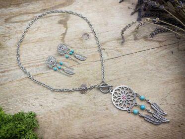 Álomfogó medálos acél nyaklánc és fülbevaló szett türkizzel