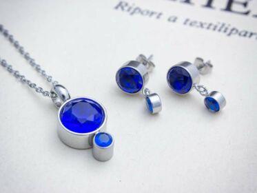 Lotus kék kristályos acél nyaklánc és fülbevaló szett