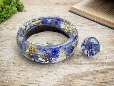 Kék búzavirág műgyanta szett