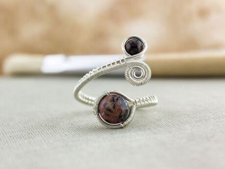 Képjáspis ezüst drót gyűrű