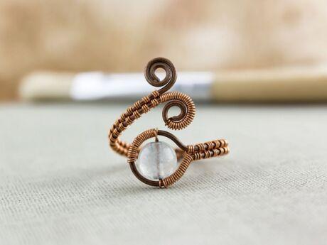 Jáde réz drót gyűrű
