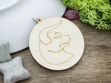 Bika horoszkóp lézervágott lógós nyírfa medál