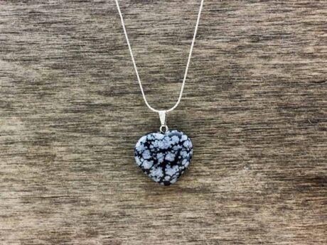 Hópehely obszidián szív ásvány medál