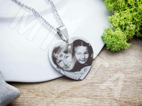 Fotógravírozás acél szív medál nyaklánccal