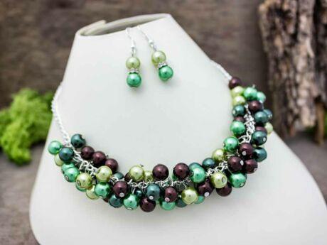 Zöld bubble tekla gyöngyös nyaklánc és fülbevaló szett