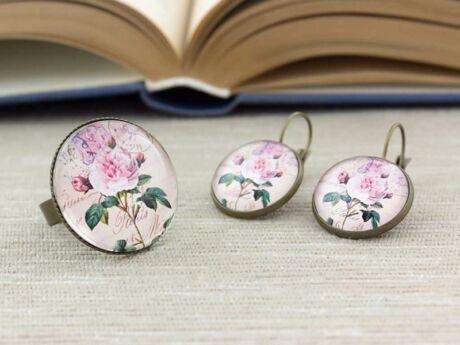 Üveglencsés vintage virág gyűrű és fülbevaló szett