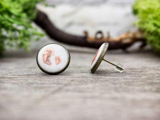 Rorschach rozé fehér színű beton beszúrós fülbevaló