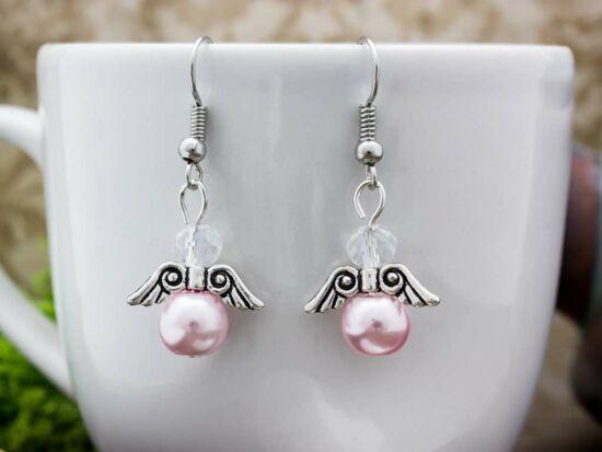 Rózsaszín csillogó angyal fülbevaló