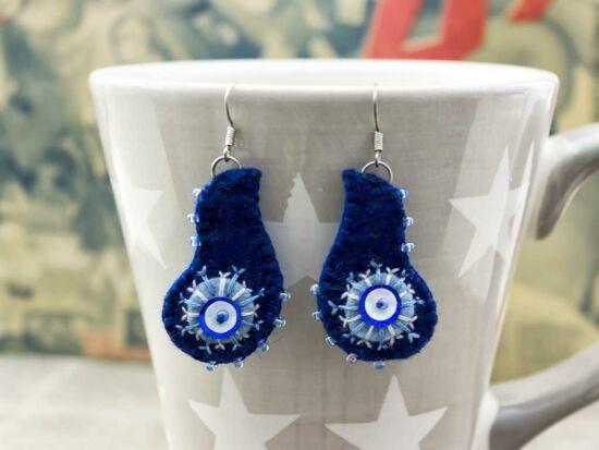 Kis hullámos kék karácsonyi hópehely gyapjúfilc lógós fülbevaló