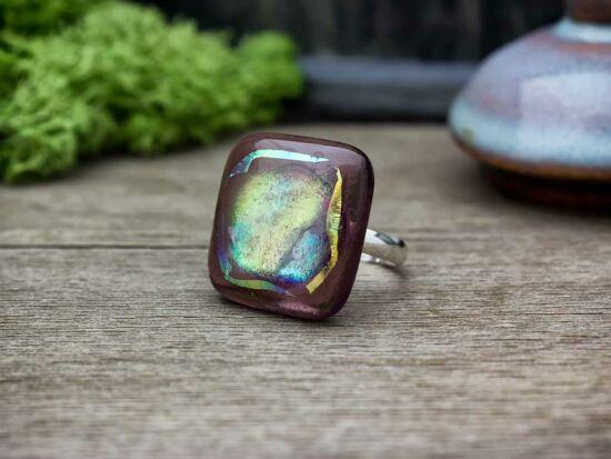 Lila gyönyör üveg gyűrű