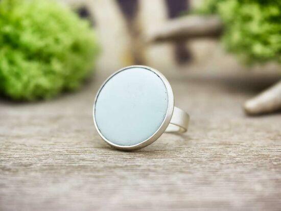 Menta zöld tűzzománc gyűrű ezüst színű alappal
