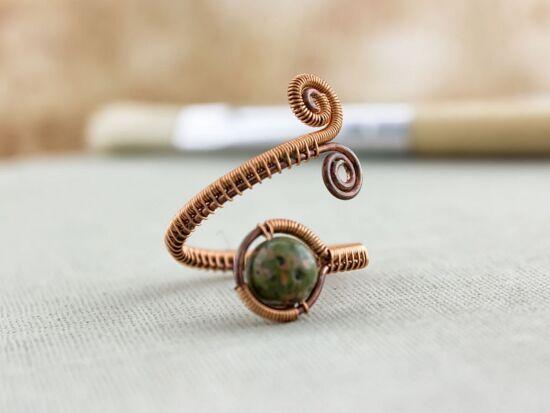 Unakit réz drót gyűrű