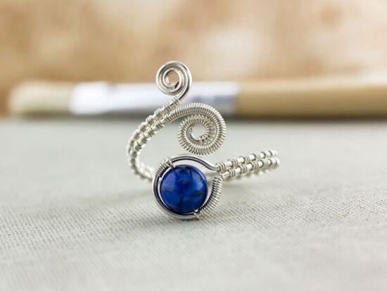 Krizokolla ezüst színű drót gyűrű