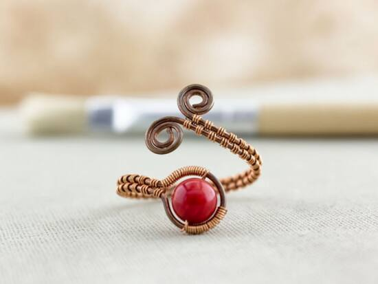 Vörös korall réz drót gyűrű
