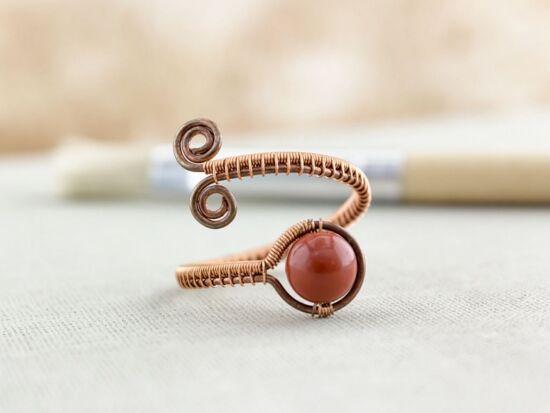 Jáspis réz drót gyűrű