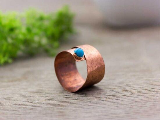 Lemez réz türkiz gyűrű 55