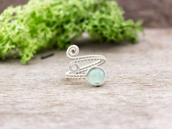 Aventurin ezüst színű drót gyűrű